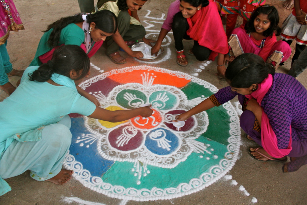 rangoli design by girls