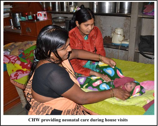 CHW providing neonatal care during house visits