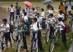 Some school boys with their new bikes