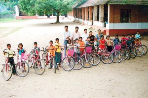 Second delivery of bikes at one of the schools in year 2008