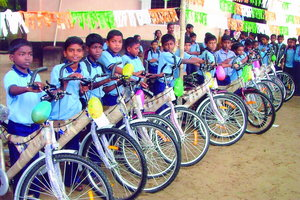 Bike distribution to boys in 2009