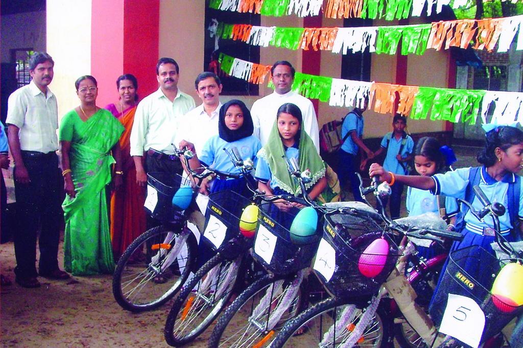 Bike distribution to girls in 2009