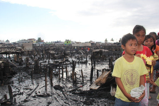 A scene after the fire affected 3,000 families