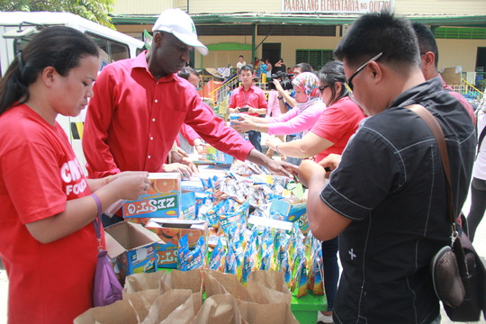 Foodstuff for fire victims in evacuation center