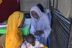 A child receives an immunization shot.