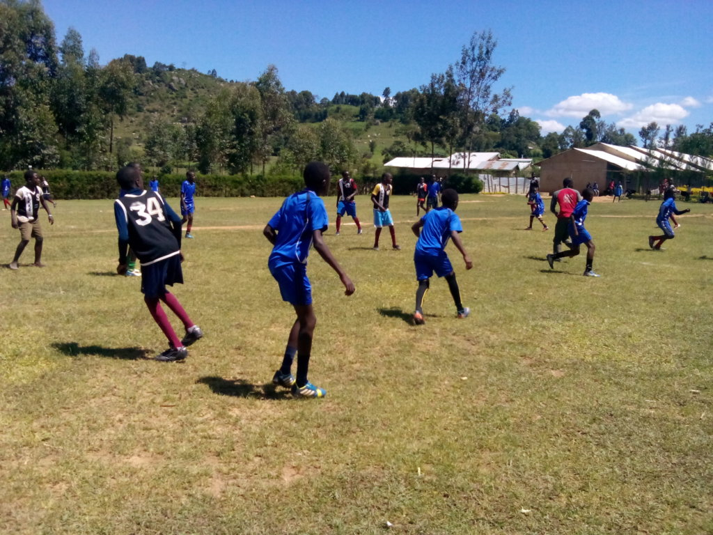 students preparing for the soccer competitions
