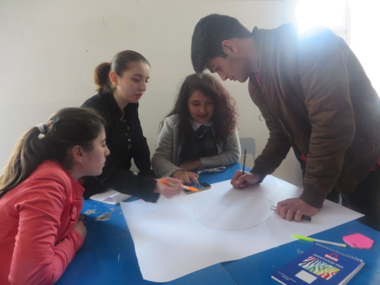 The participants working on posters