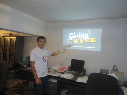 Vigen is representing the Giving Week