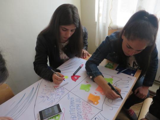 Participants are doing teamwork in Vanadzor