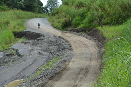 Deteriorating section of the Lae-Madang Highway