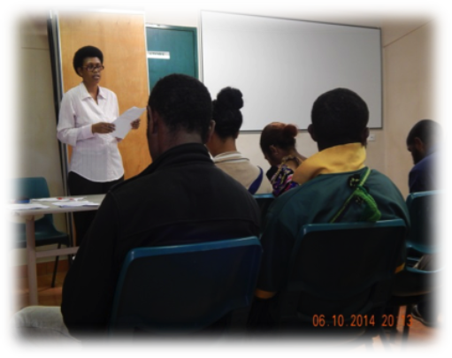 A staff of RCF talking to students