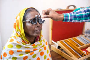 Hamza's eye-sight being checked