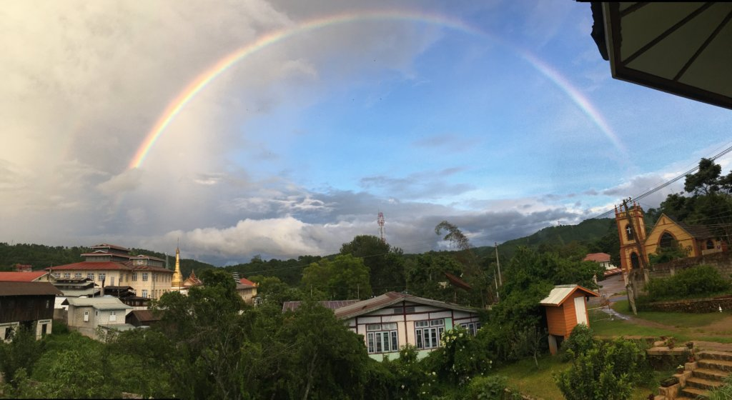 Rainbow over Kalaw from Sprouting Seeds Cafe