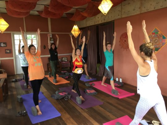 Local and foreigners in our new yoga classes!