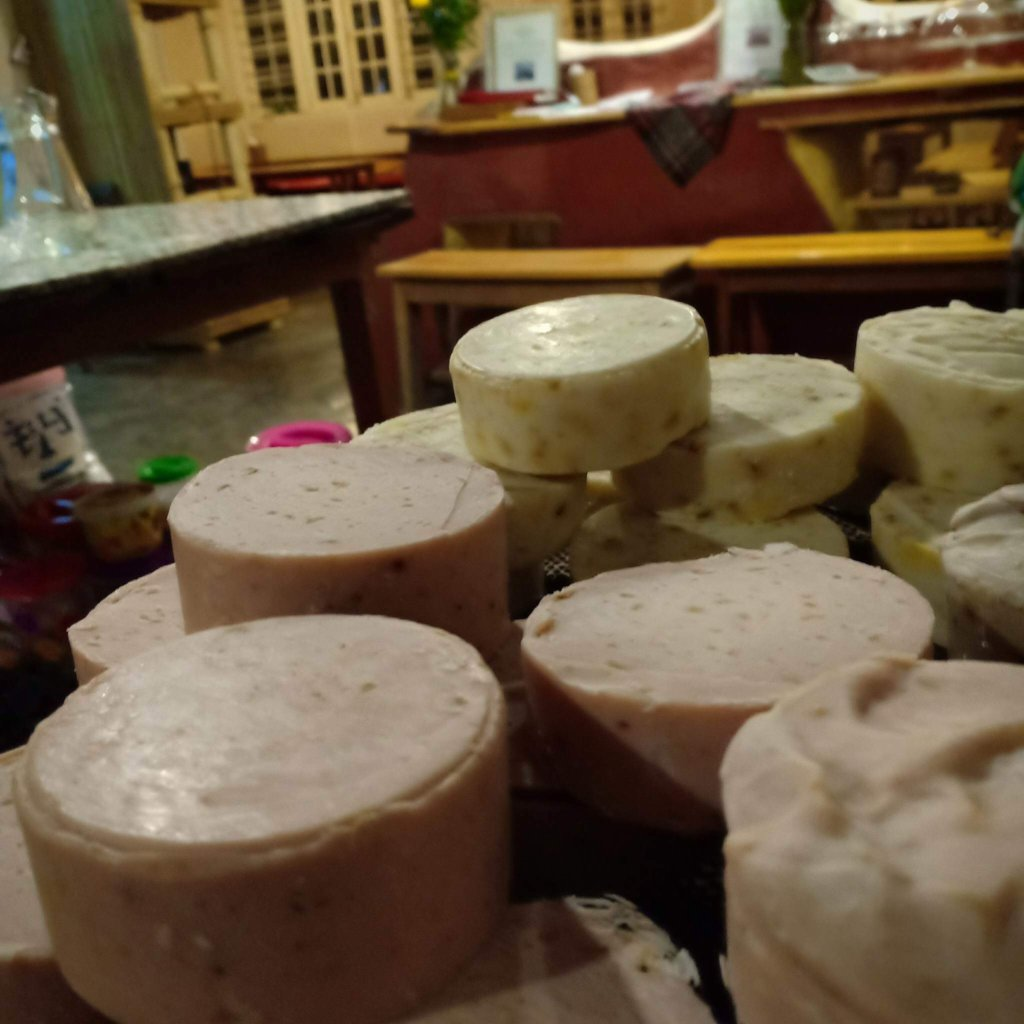 Handmade 100% natural soaps made here at cafe!