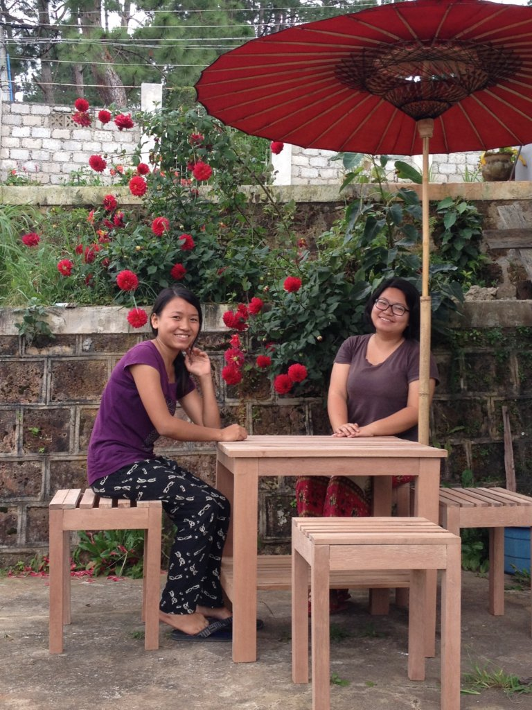 Handmade tables and chairs by the girls