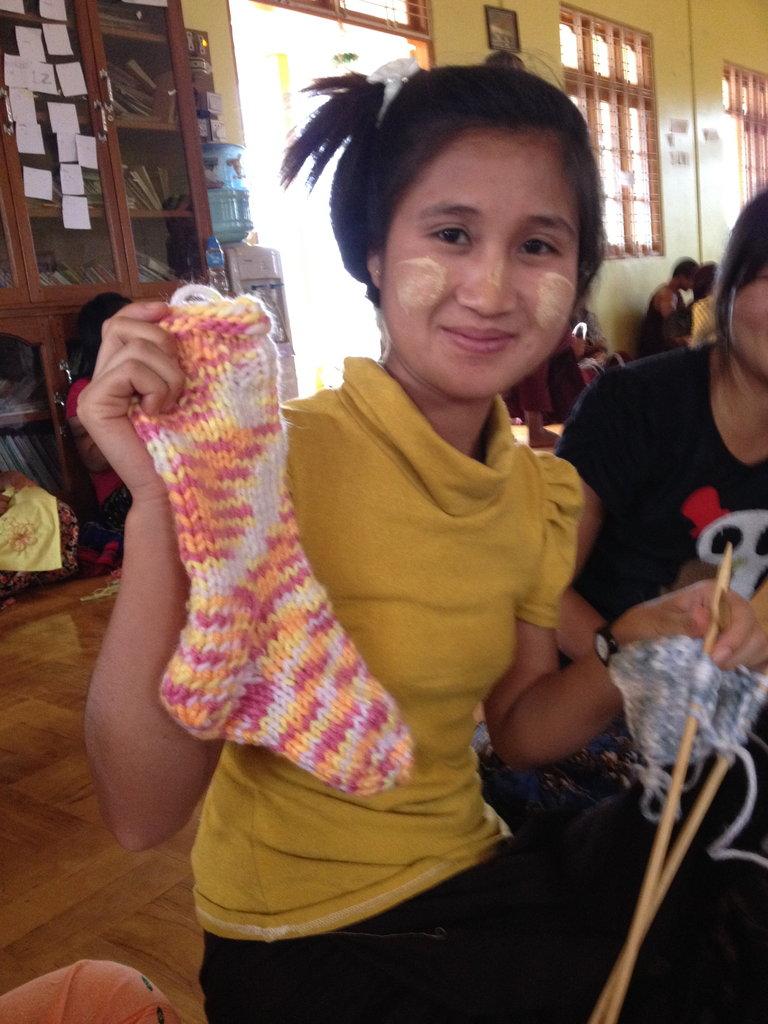 Hand made knit socks
