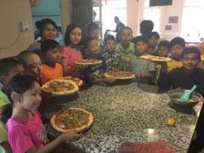 Teaching 40 children from the Green School, Yangon