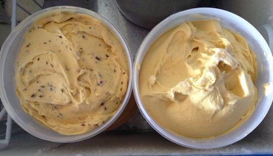 Finished mango-lime & mango choice chip gelato