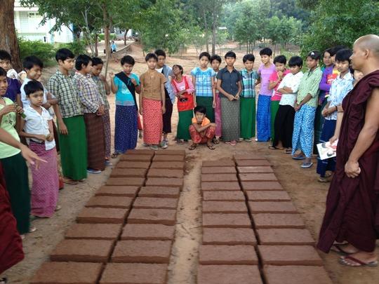 Mud brick oven making at Chin monastic school