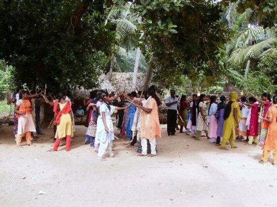 Girls learning folk dance