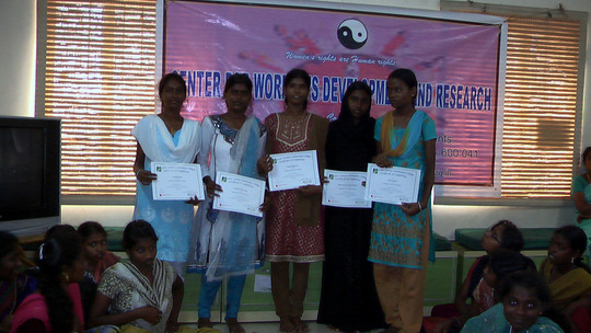 Girls with onlince course certificates