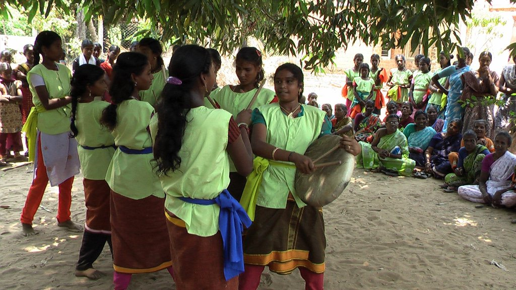 Adolescent girls performing