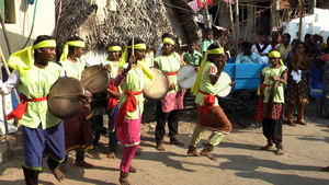 Snehidhi members performing 'Thappattam' in a slum