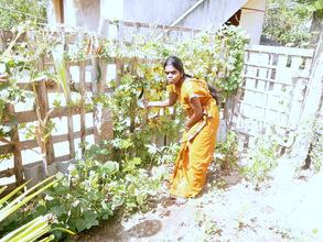Woman in her kitchen garden