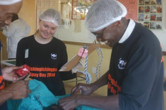 Megan assisting Dr. Lufungulo