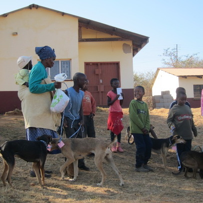 Thembi bringing her dogs to after care