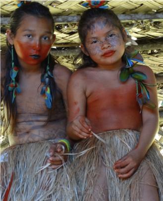 Yawanawan children during jaguar festival