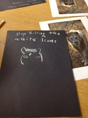Kids' white lion art project