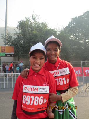 Chandini & Sunita at the Marathon