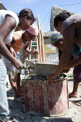 Women carpenters construct SOIL toilets