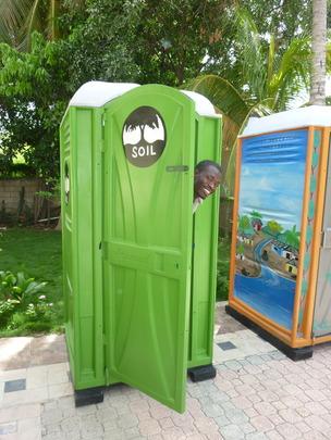 Checking out an EkoMobil toilet