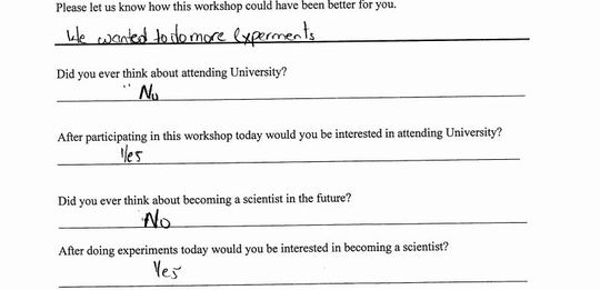Feedback from one of our high school students