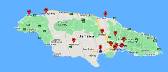 Participant location by parish