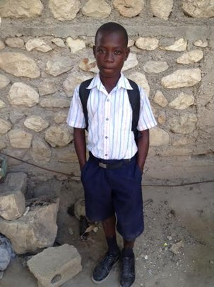 Rodnel, proud in his uniform and ready for school!