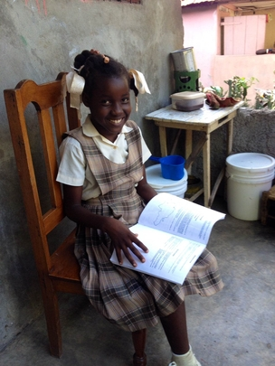 Roseberline, happy in her homework