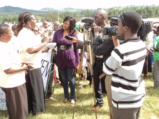 Addressing the media