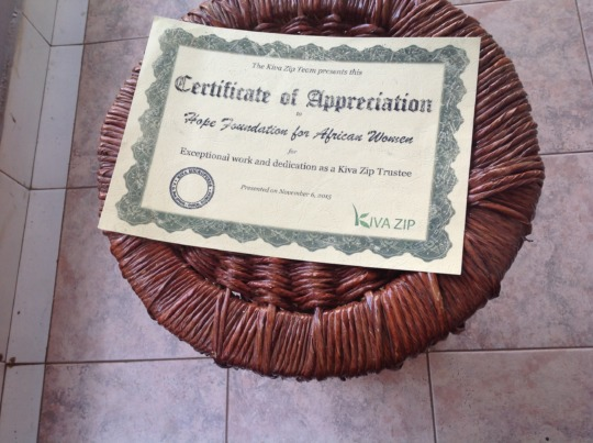 Kivazip certificate of appreciation of HFAW