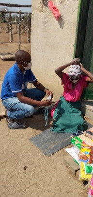 Gogo rejoicing that she was able to receive a food