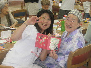 Making greeting cards at the Senior Home