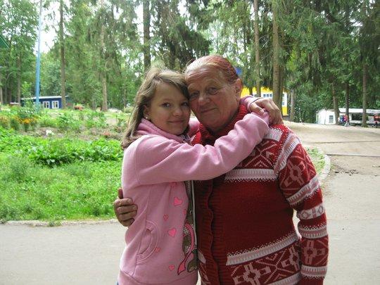 Katya with her grandmother
