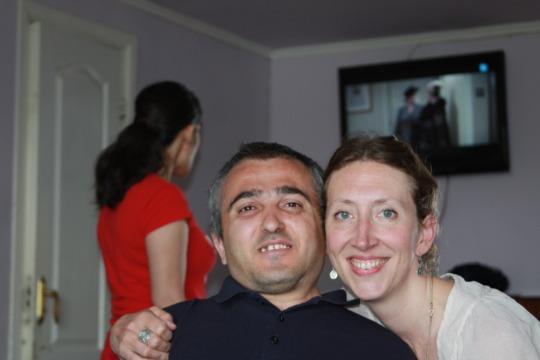 Natalie (founder) with Davit (resident)