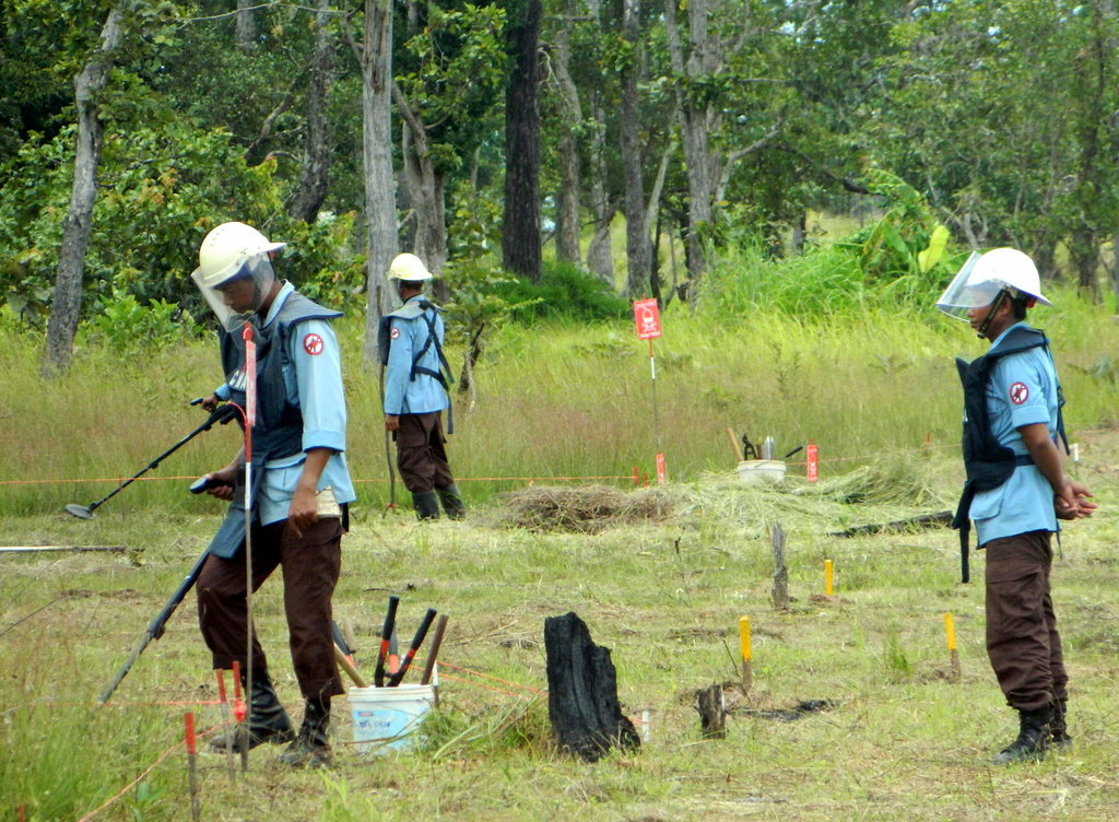 Mine clearing activities near a village