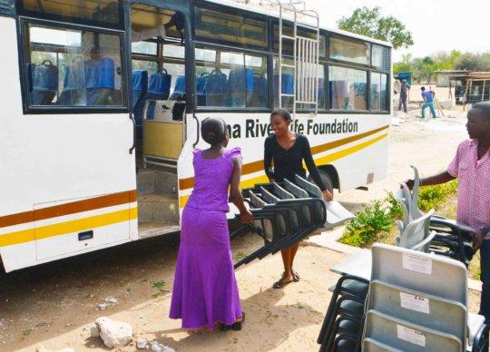 Transporting the desks to Buyani