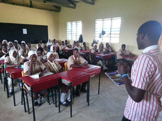 Students being taught in the new classrooms