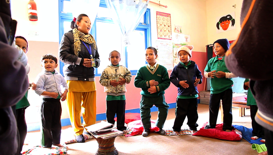 Khum in his new classroom